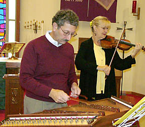 Of Land and Seasons at the Natick Lutheran Church, shown here with Kathy Sheperd on fiddle